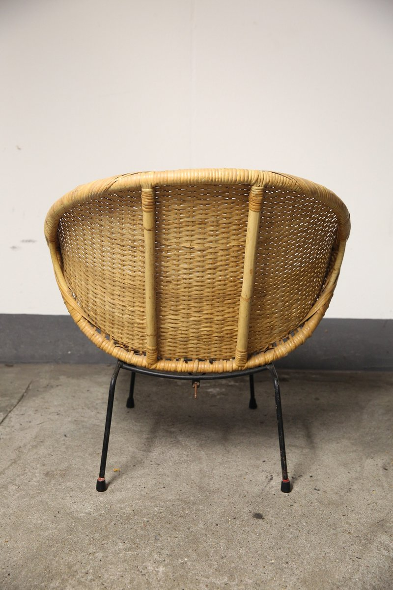 Round Bamboo Basket Chairs, 1950s, Set Of 2