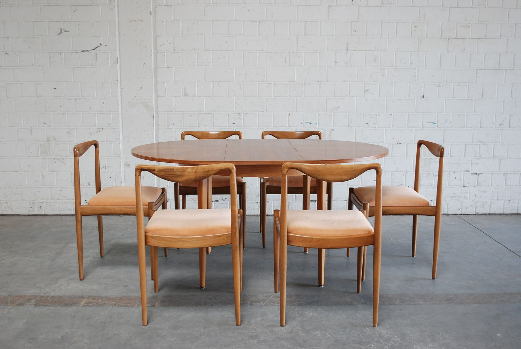 Mid Century Danish Dining Table with 6 Chairs for sale at Pamono