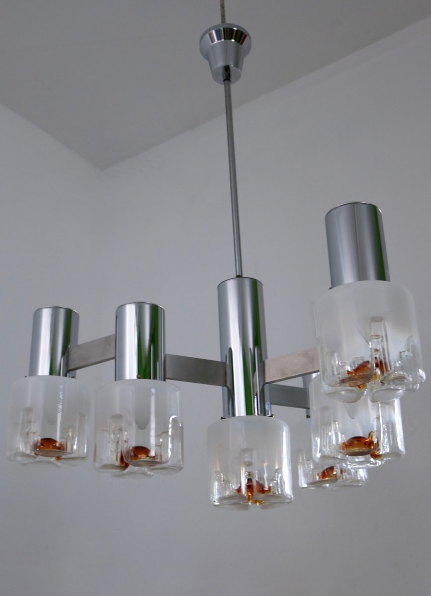 blown glass and metal chandelier by mazzega