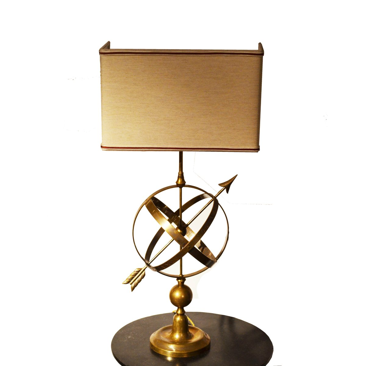 Vintage Sundial-Shaped Brass Lamp for sale at Pamono