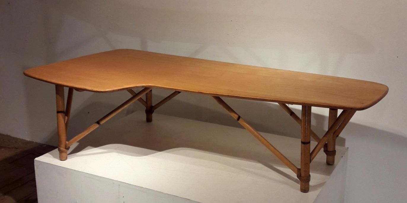 table basse en bois et bambou 1950s en vente sur pamono. Black Bedroom Furniture Sets. Home Design Ideas