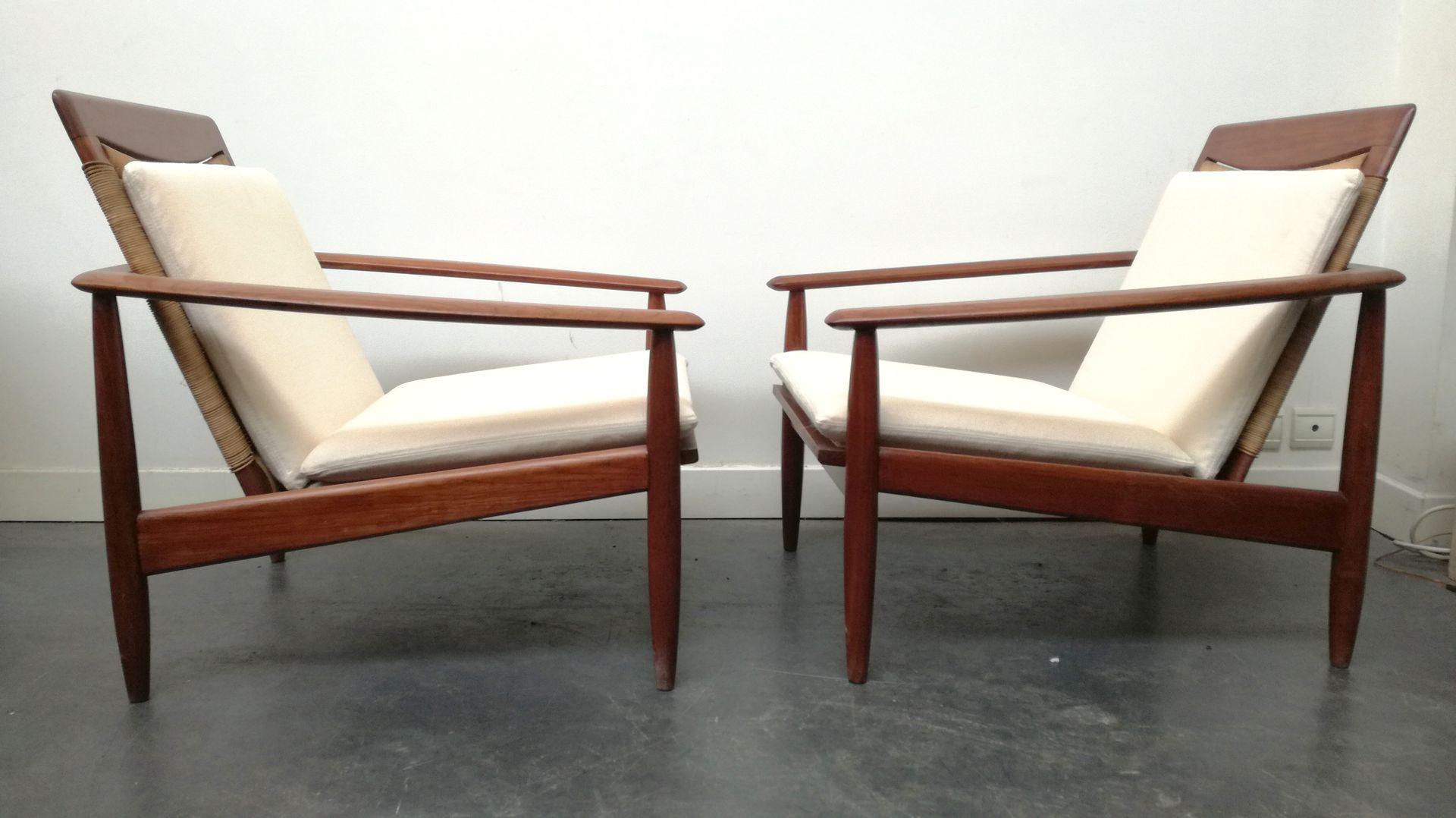 skandinavische teak sessel 1960er 2er set bei pamono kaufen. Black Bedroom Furniture Sets. Home Design Ideas