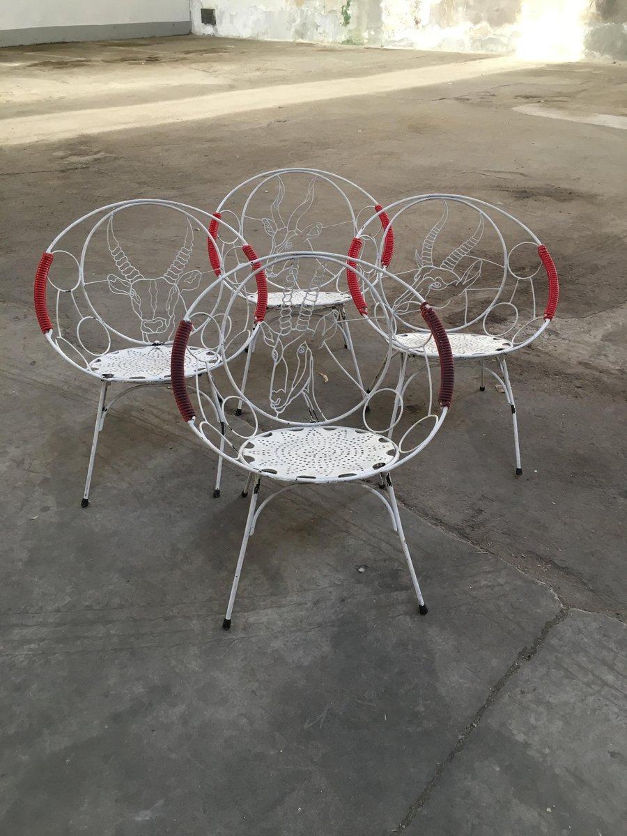 chaises de jardin en fer 1950s set de 4 en vente sur pamono. Black Bedroom Furniture Sets. Home Design Ideas