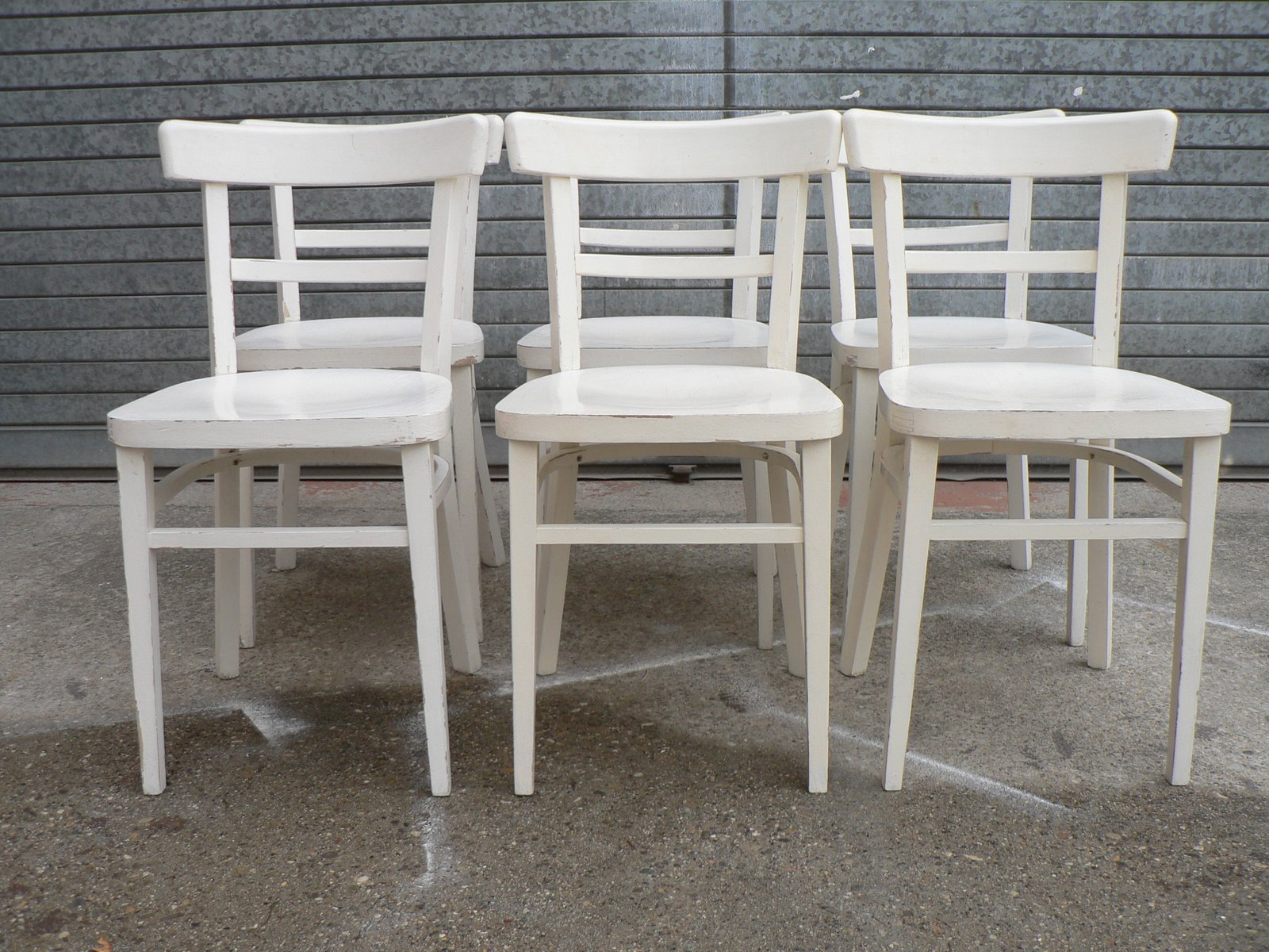 Vintage White Bistro Chairs Set of 6 for sale at Pamono
