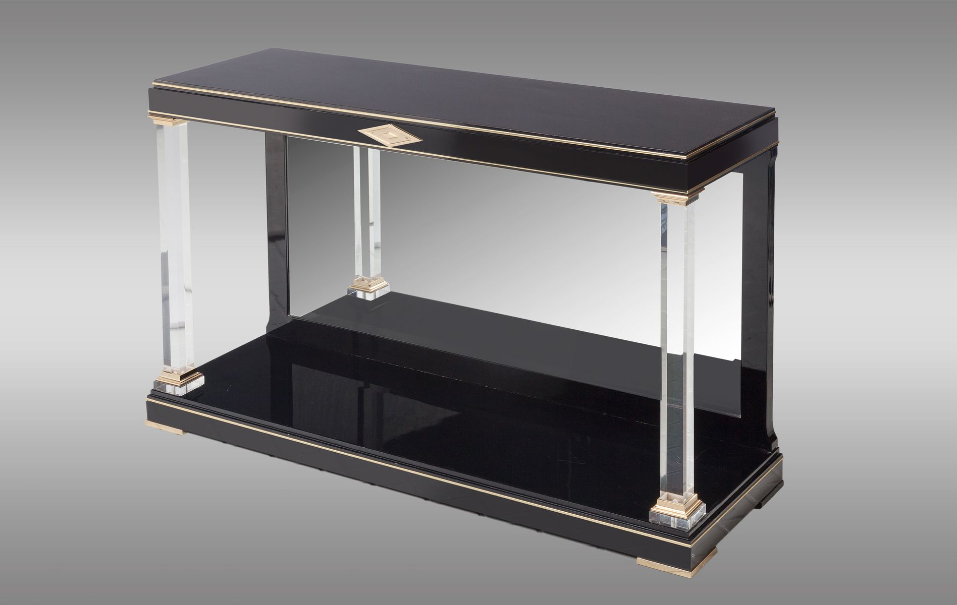 table console noire avec dos en miroir 1970s en vente sur pamono. Black Bedroom Furniture Sets. Home Design Ideas