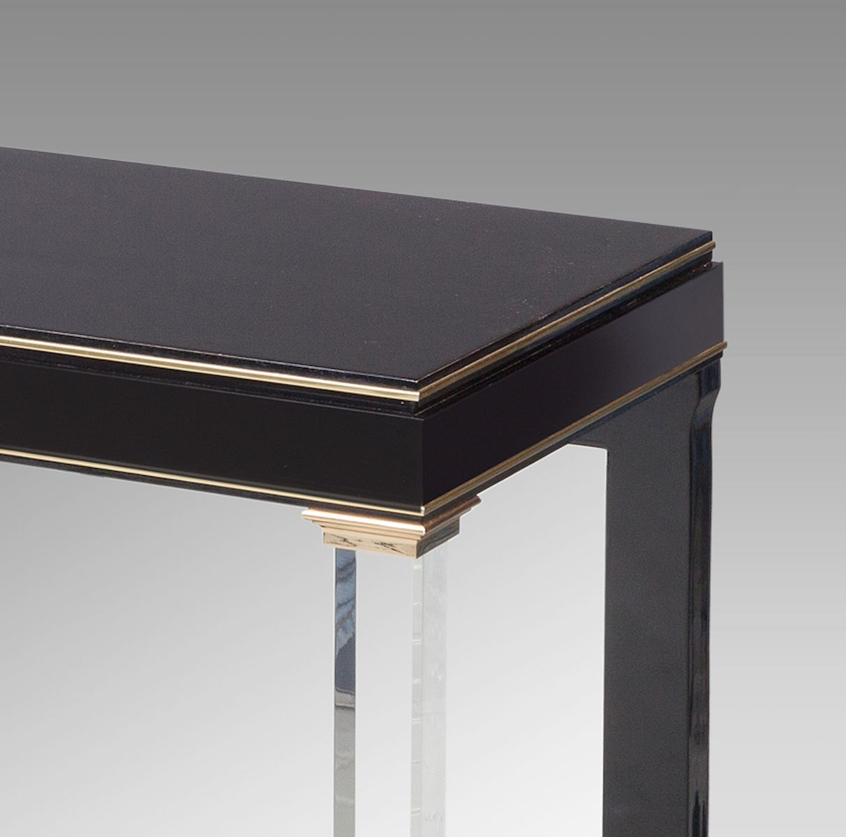 Black console table with a mirrored back 1970s for sale for Black and mirrored console table