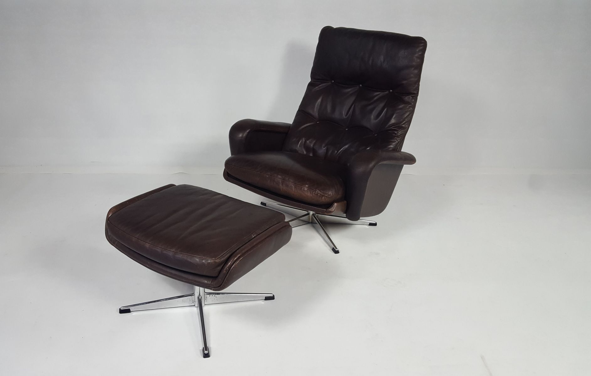 Leather Swivel Chair With Ottoman, 1970s