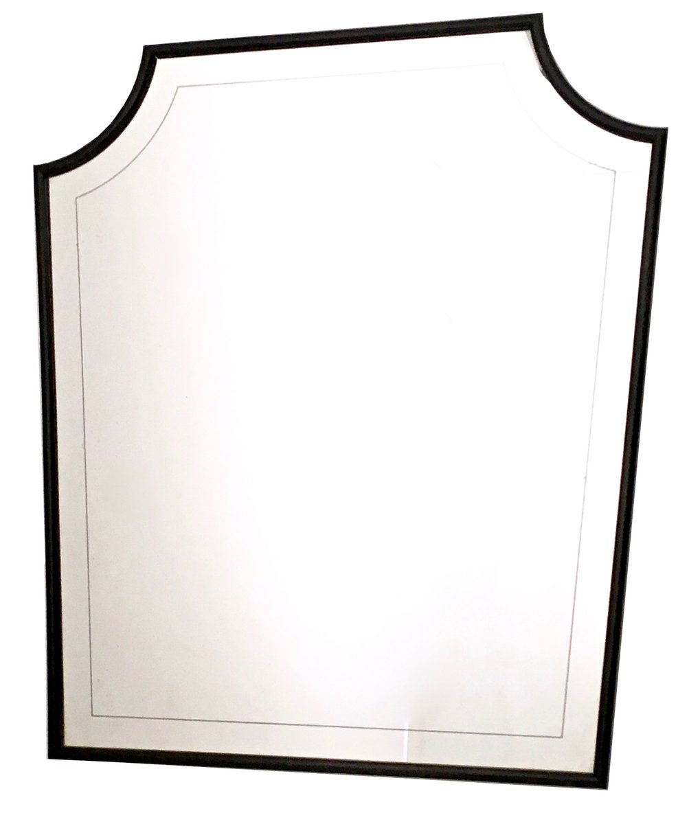 wall mirror clipart. large engraved wall mirror with wooden structure 1940s clipart