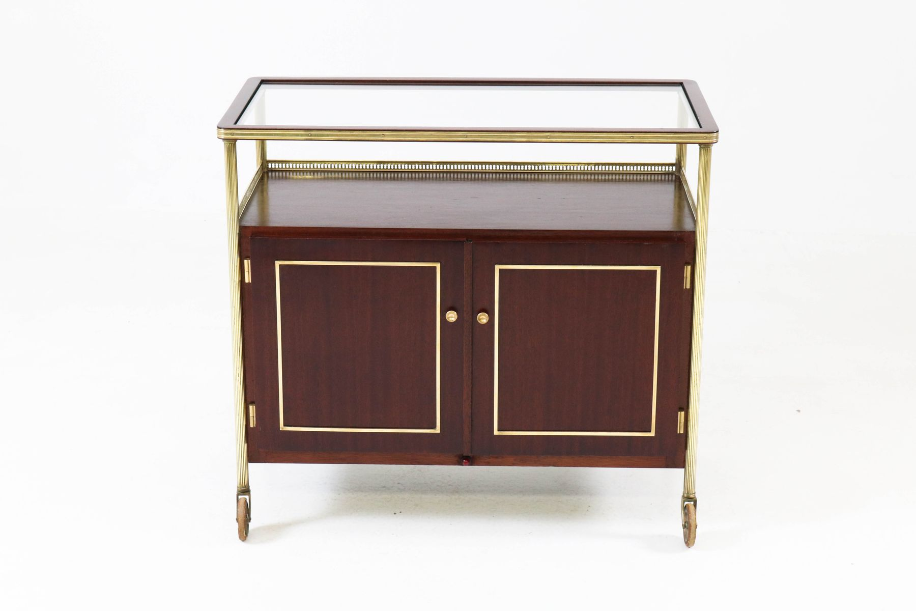 French mahogany amp brass bar cart 1950s for sale at pamono
