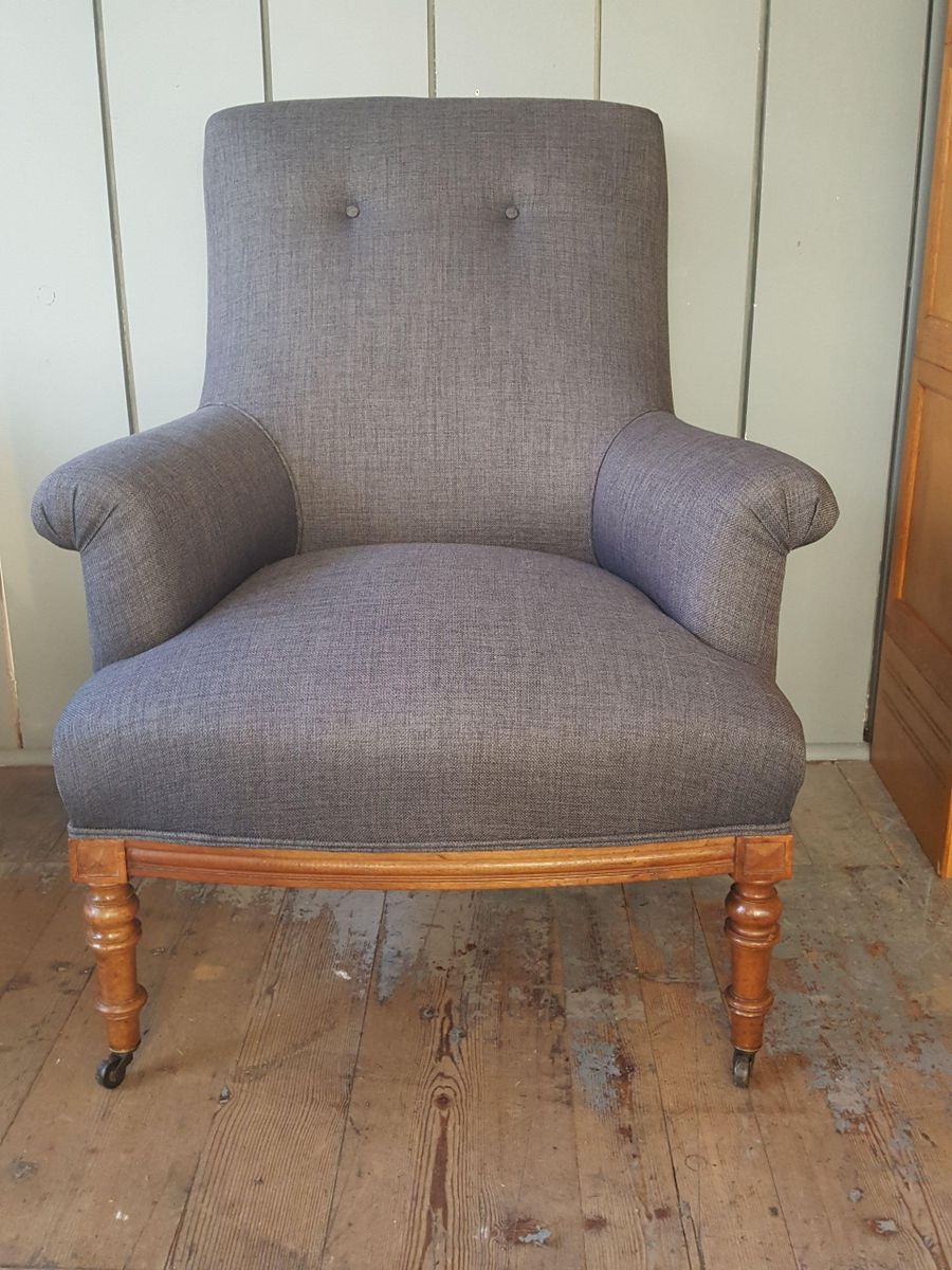 Charming Vintage French Charcoal Grey Armchair