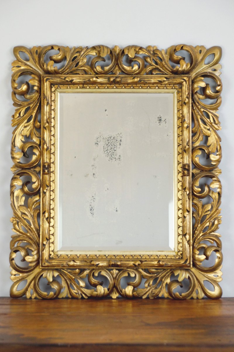 18th century baroque mirror with carved wooden frame - Wooden Frame
