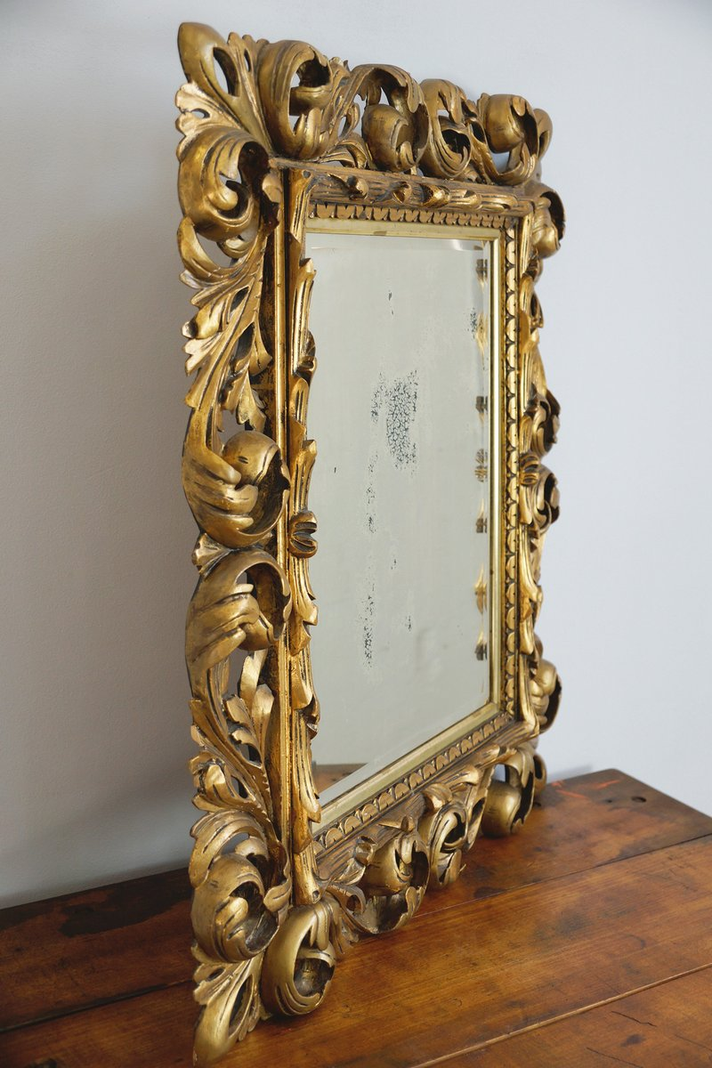 18th century baroque mirror with carved wooden frame for for Baroque mirror