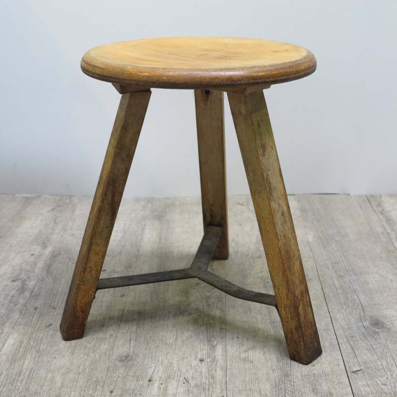 Vintage industrial wooden stool for sale at pamono