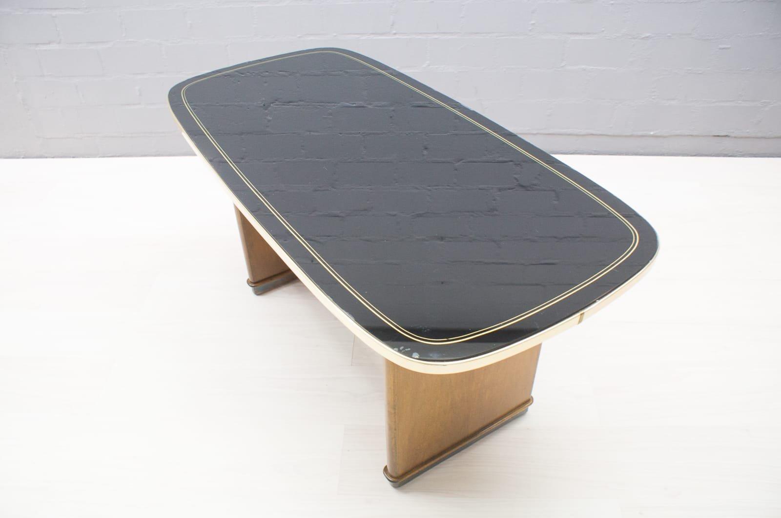 table basse mid century avec plateau en verre noir en vente sur pamono. Black Bedroom Furniture Sets. Home Design Ideas