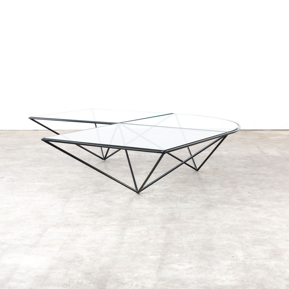 Vintage Glass Corner Coffee Table for sale at Pamono