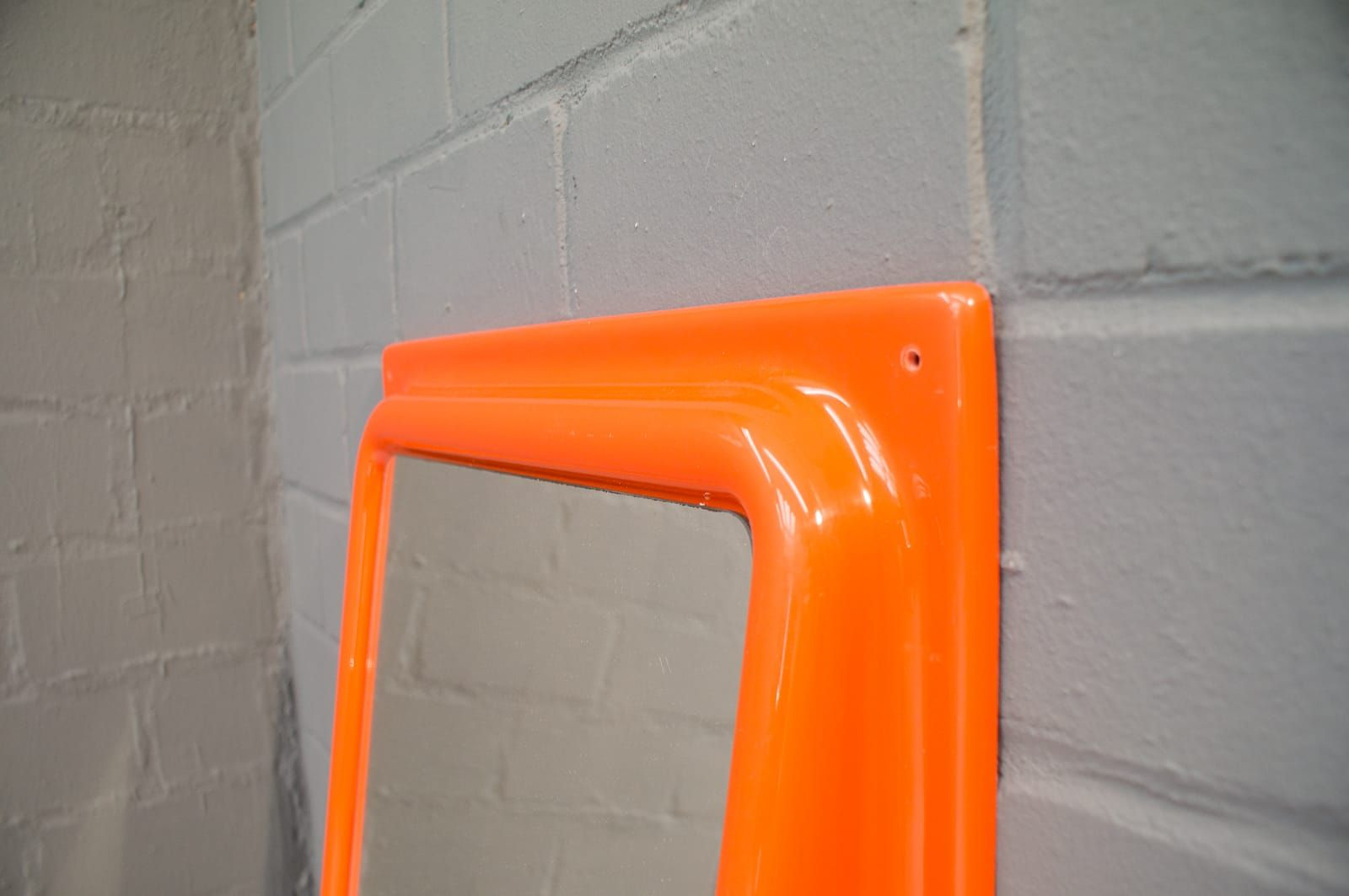 Orange space age wall mirror with shelf 1960s for sale at pamono price per piece amipublicfo Gallery