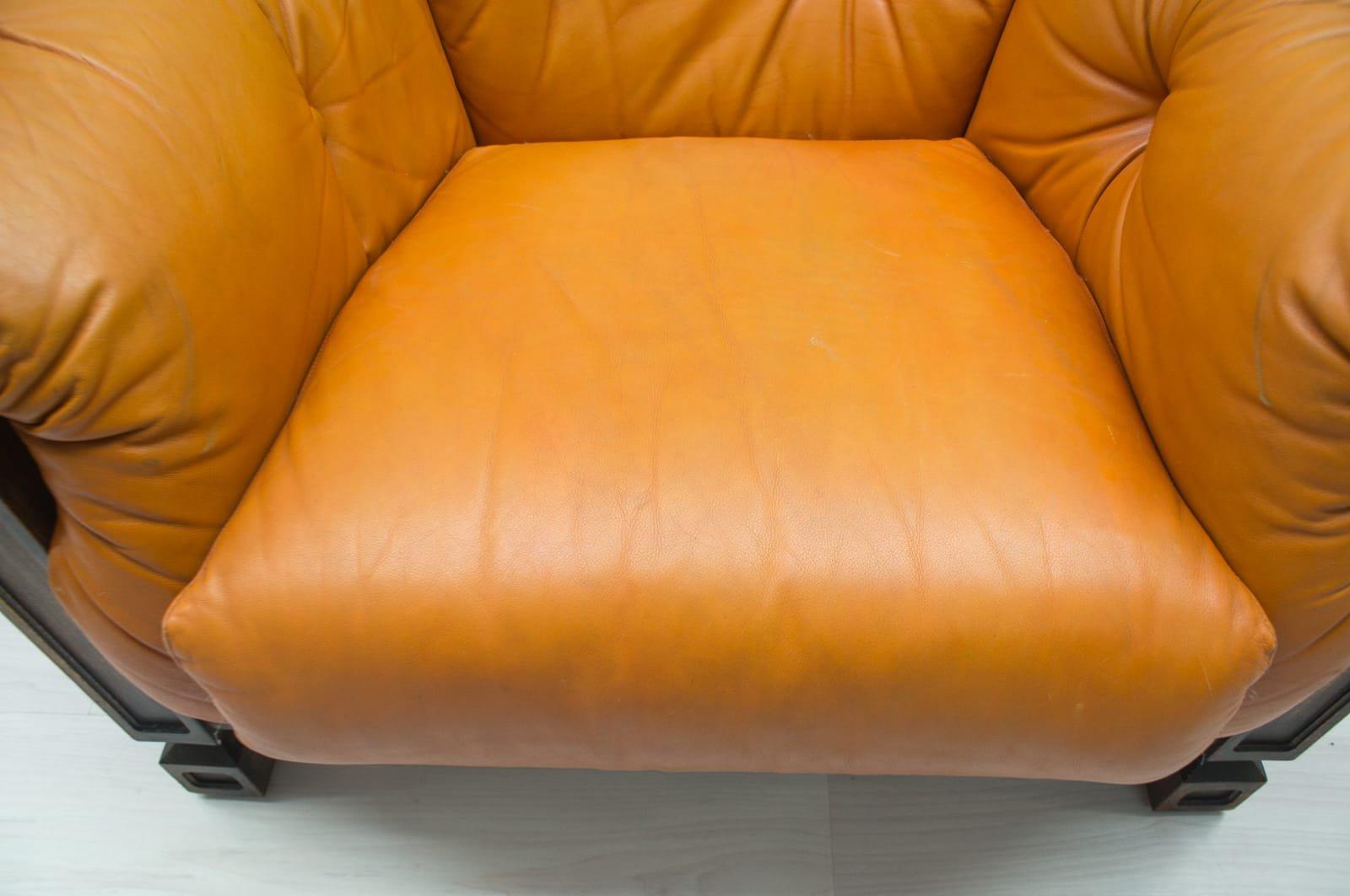 Sessel Aus Holz großer sessel aus leder holz 1960er bei pamono kaufen