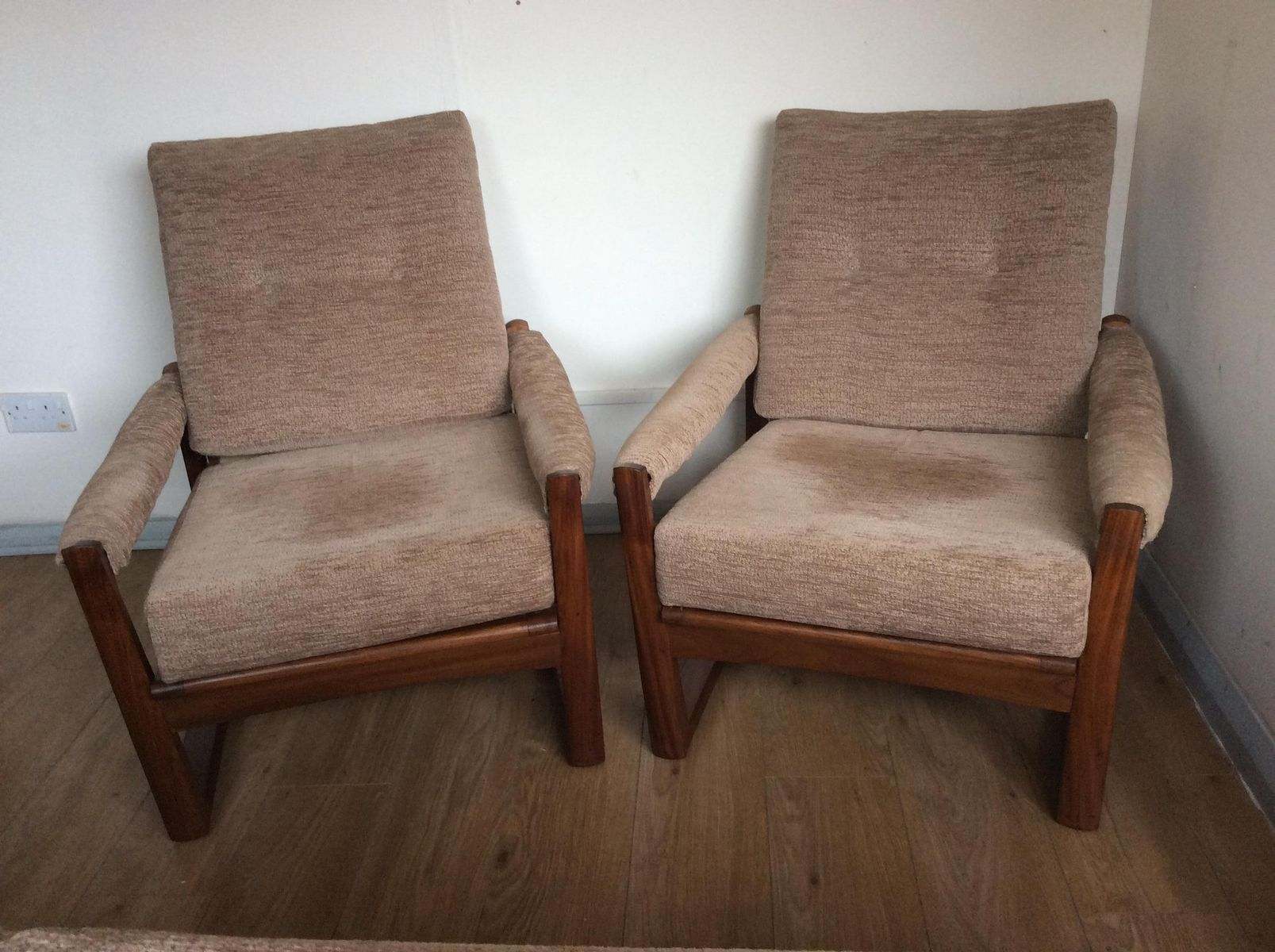 Afromosia & Teak Virginia Armchairs by Guy Rogers 1960s Set of 2