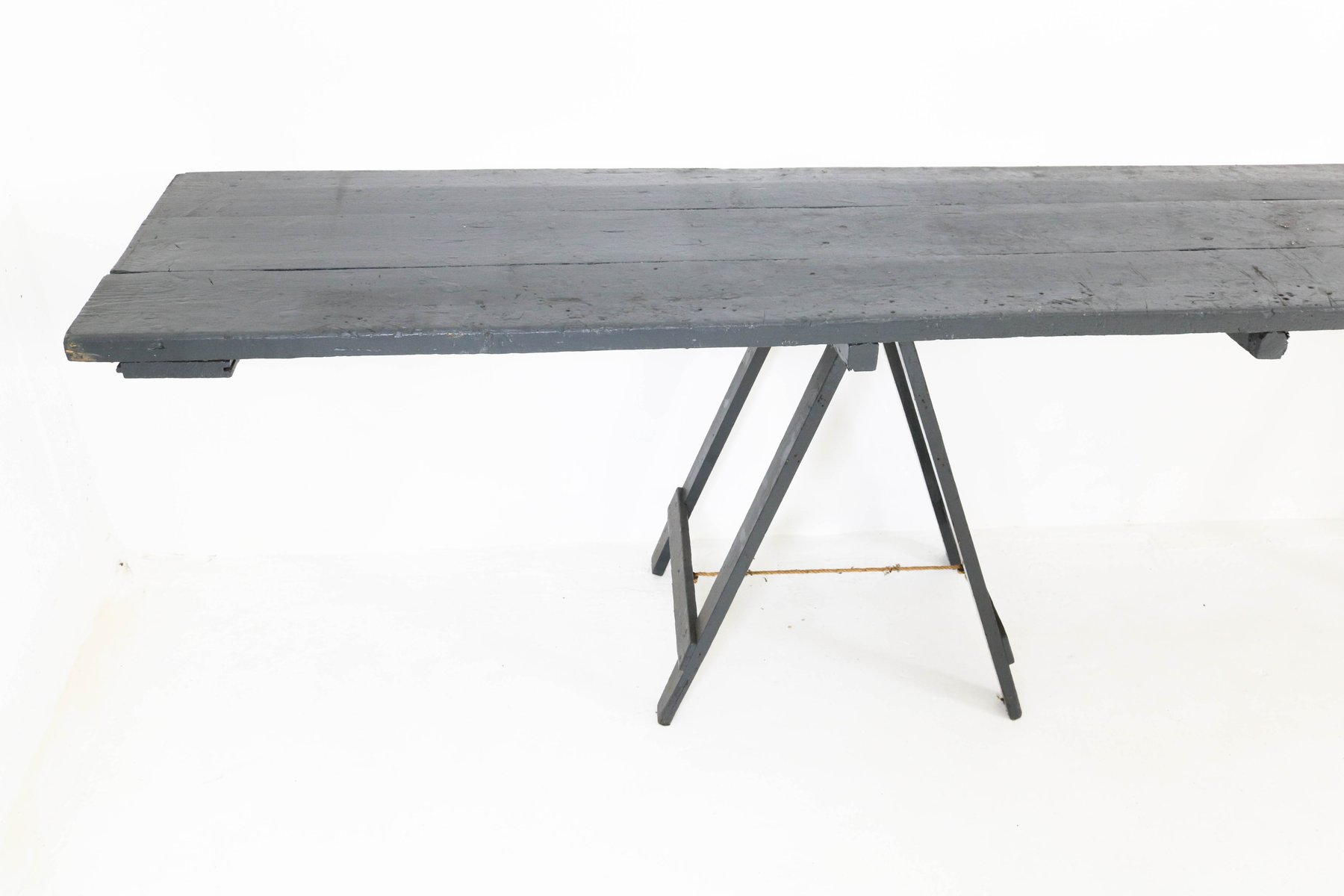 Industrial Painted Wooden Console Table 1950s for sale at