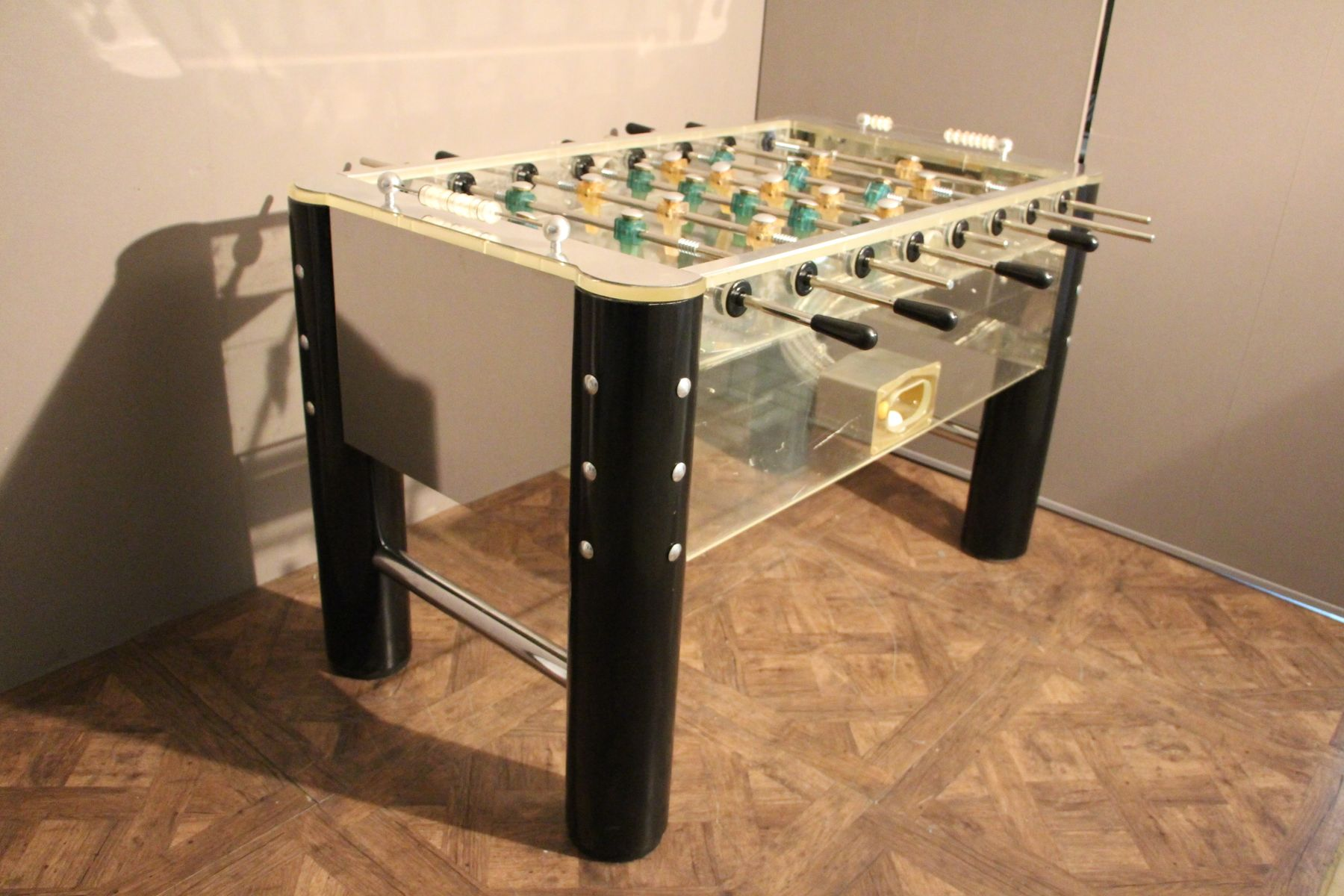 Lucite and Polished Aluminum Foosball Table 1970s for sale at Pamono