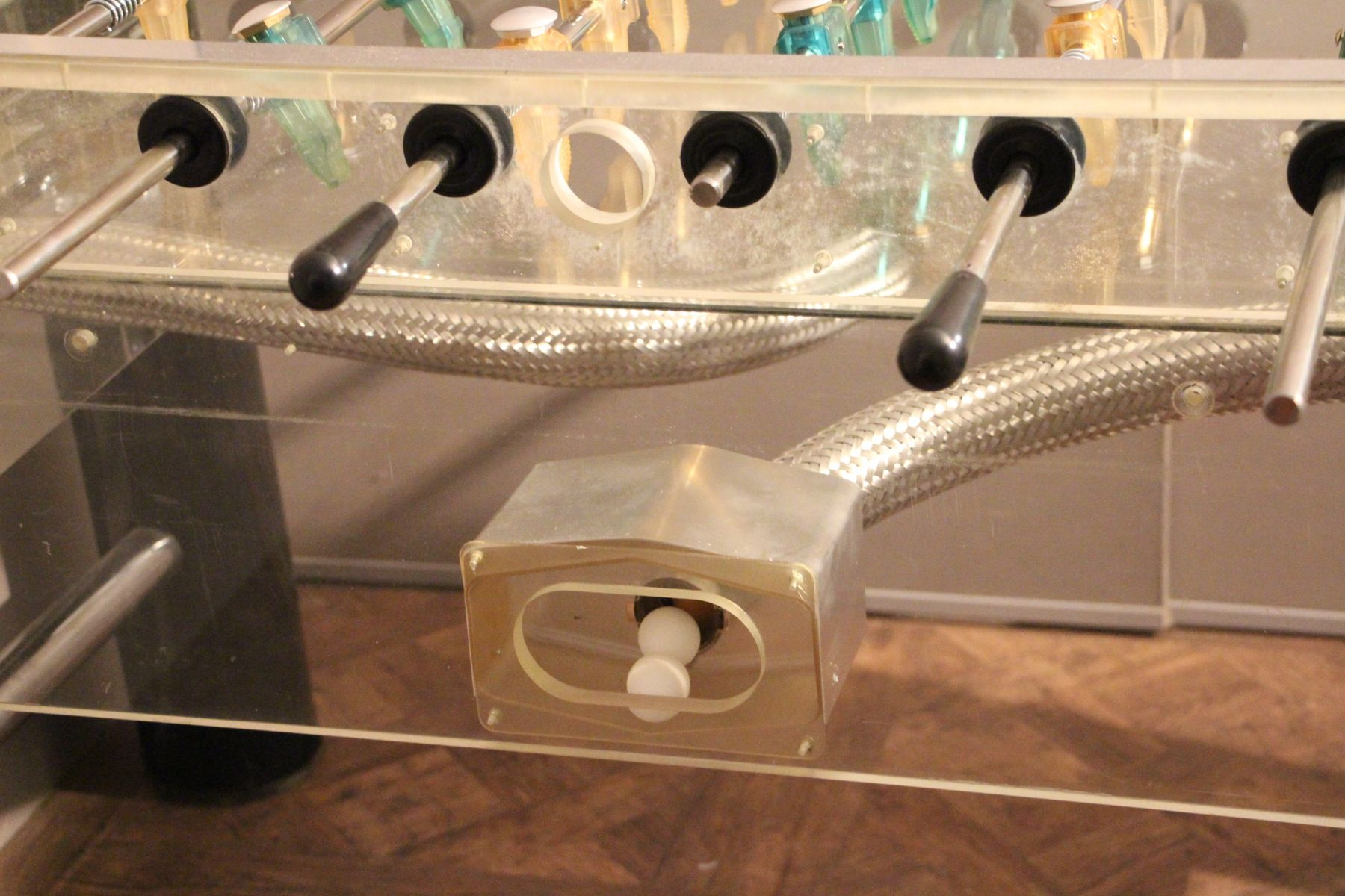 Lucite And Polished Aluminum Foosball Table 1970s For