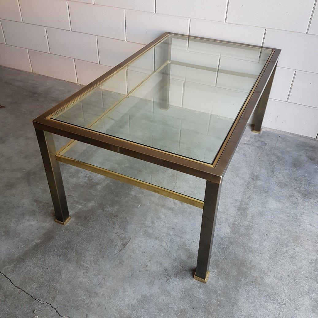 table basse en laiton et verre 1980s en vente sur pamono. Black Bedroom Furniture Sets. Home Design Ideas