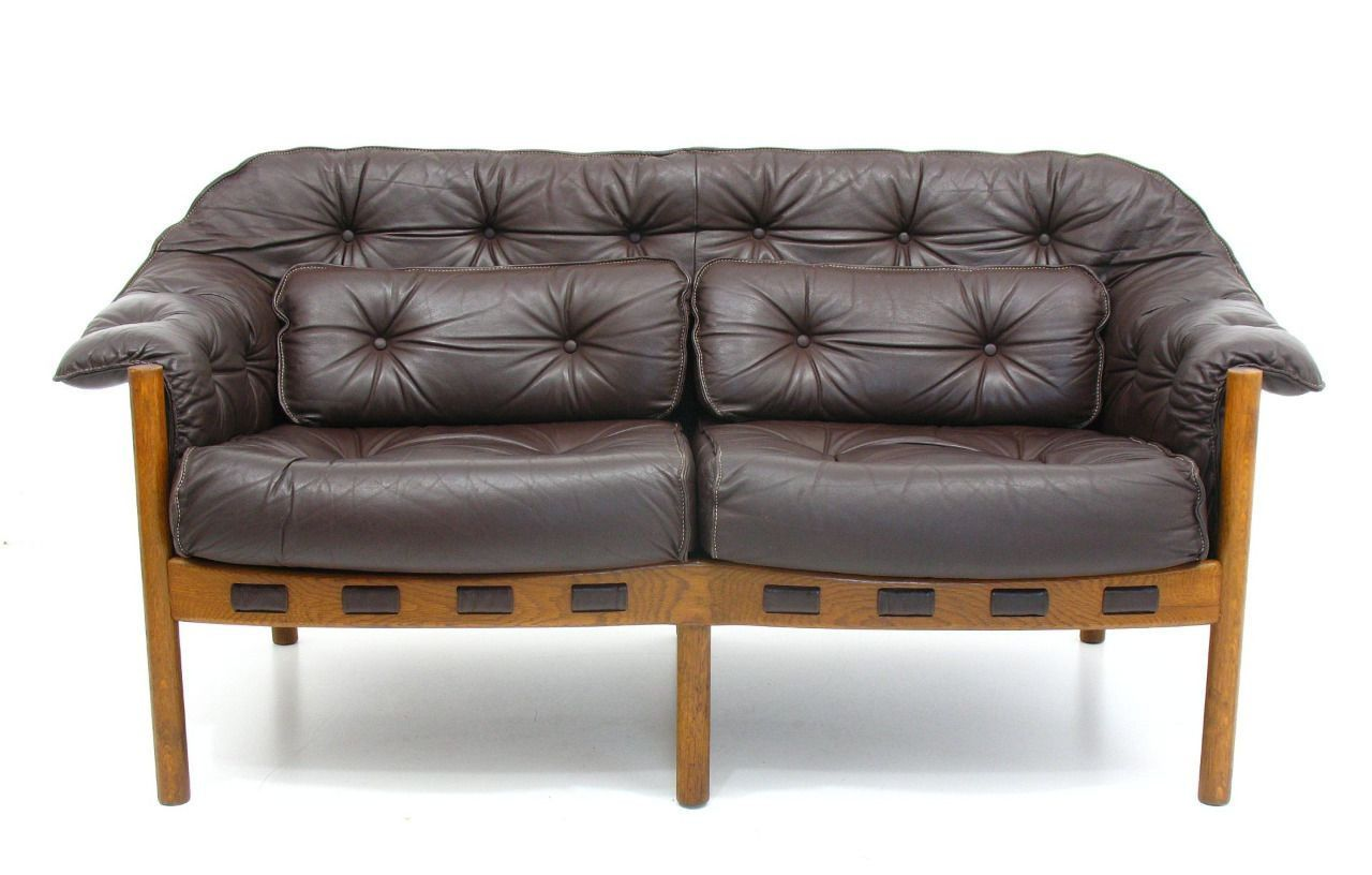 Vintage 2Seater Leather Sofa by Arne Norell for Coja for sale at