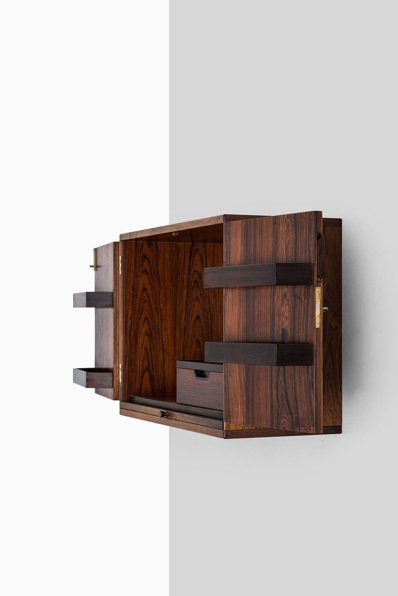 Mid Century Wall Mounted Bar Cabinet by Svend Langkilde
