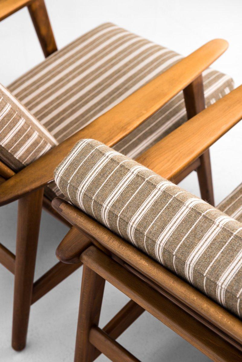 mid century ge 233 sessel und hocker von hans wegner f r getama 1950er bei pamono kaufen. Black Bedroom Furniture Sets. Home Design Ideas