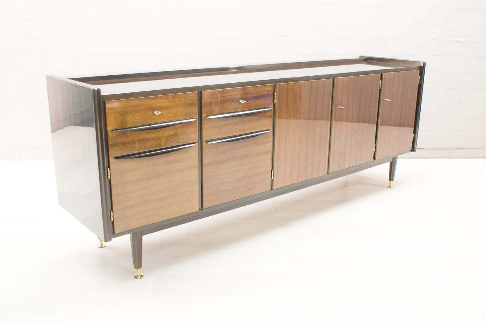 large mid century high sideboard with illuminated bar for. Black Bedroom Furniture Sets. Home Design Ideas