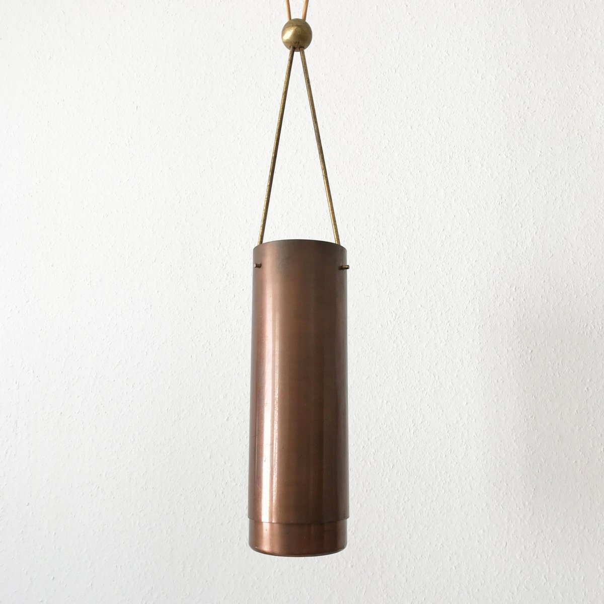 Mid century modern cylindrical pendant light 1950s for for Mid century modern hanging lamp