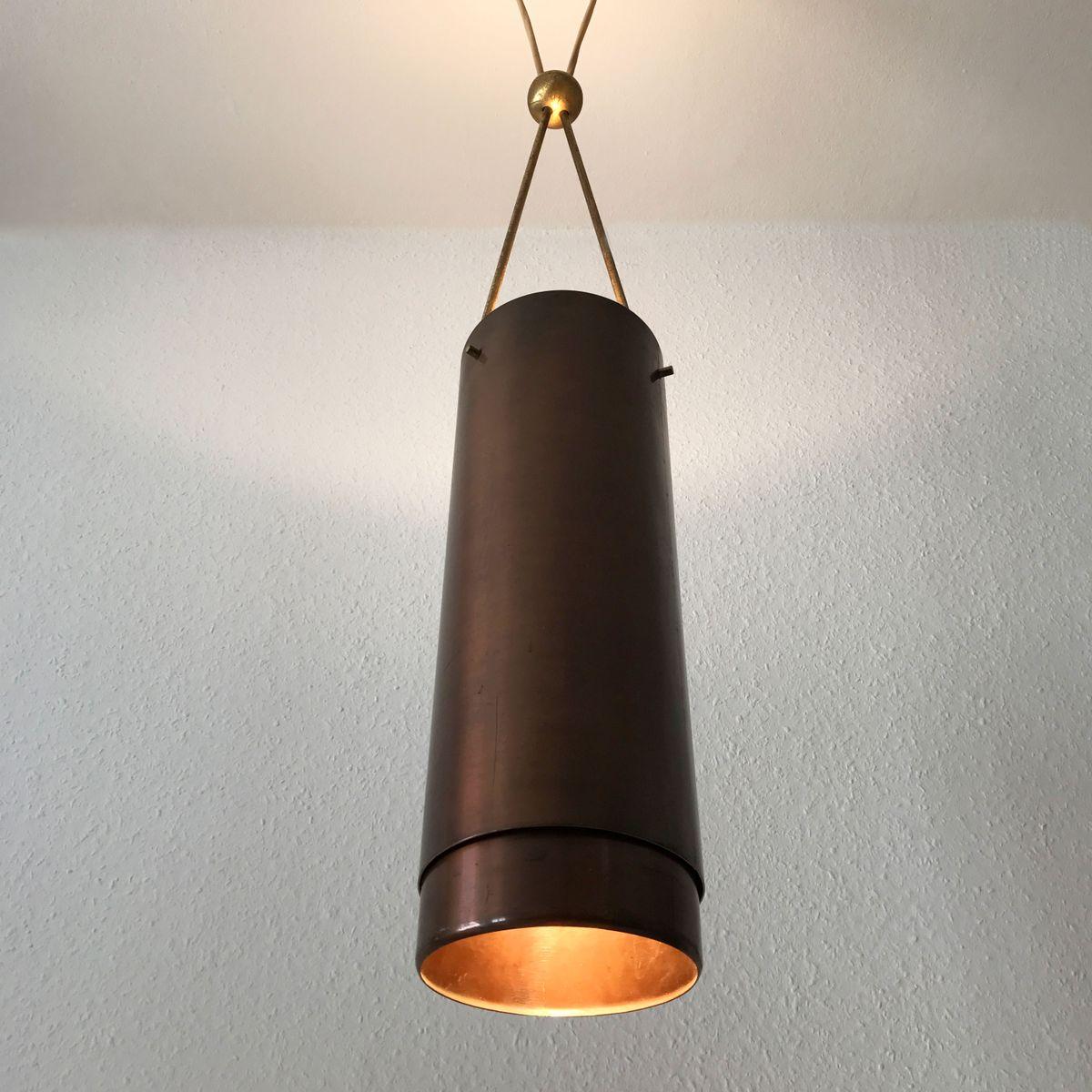 mid century modern cylindrical pendant light 1950s for. Black Bedroom Furniture Sets. Home Design Ideas