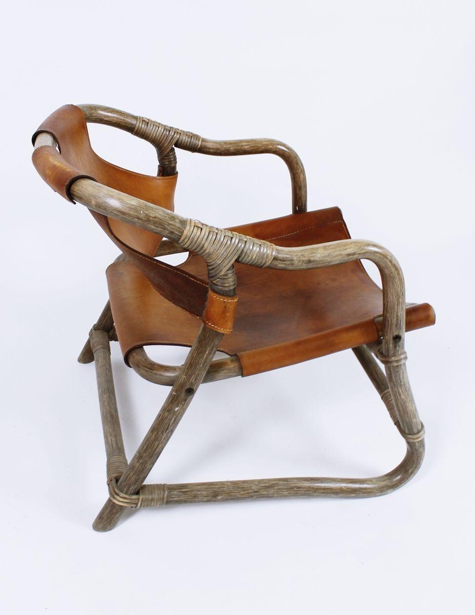 skandinavische vintage bambus leder armlehnst hle. Black Bedroom Furniture Sets. Home Design Ideas