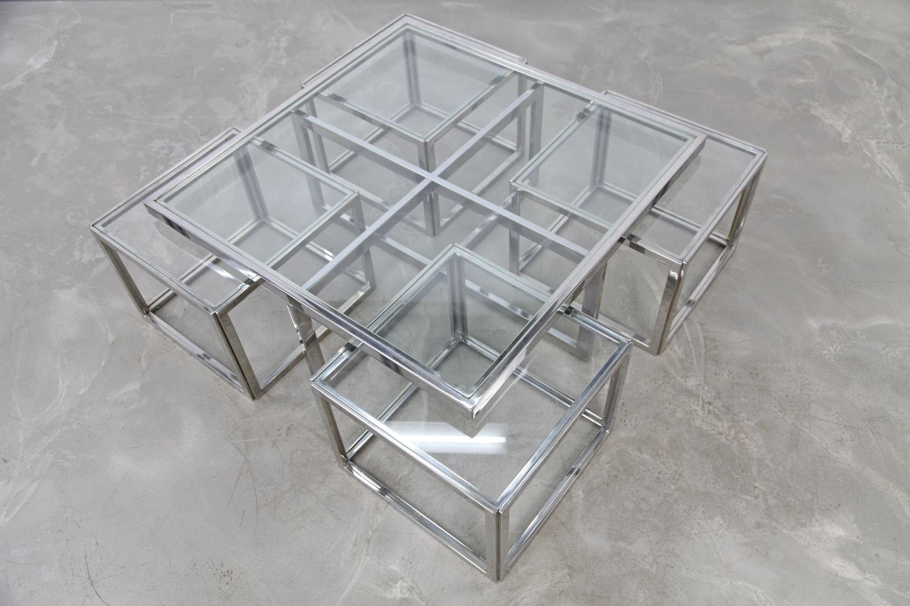 Vintage chromed coffee table with four nesting tables from maison vintage chromed coffee table with four nesting tables from maison charles geotapseo Choice Image