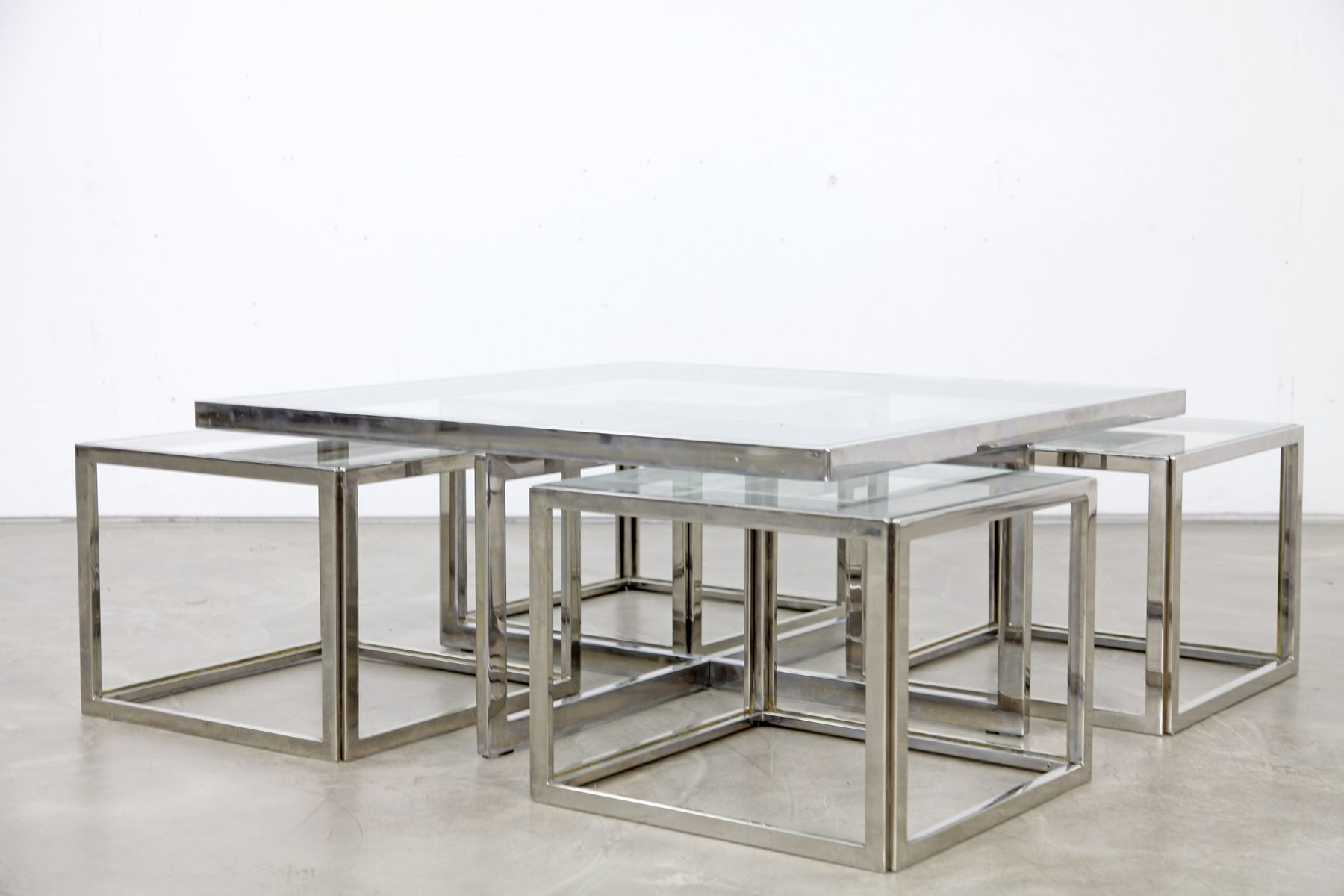 Vintage chromed coffee table with four nesting tables from maison vintage chromed coffee table with four nesting tables from maison charles 8 509600 price per piece geotapseo Choice Image