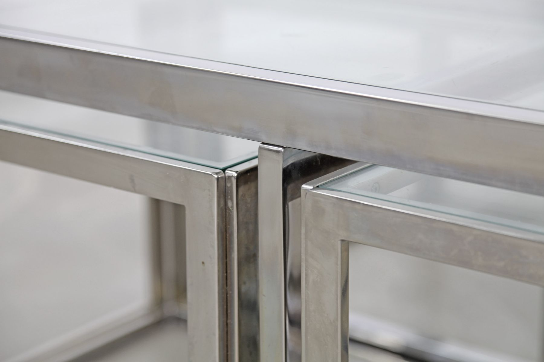 Vintage Chromed Coffee Table with Four Nesting Tables from Maison