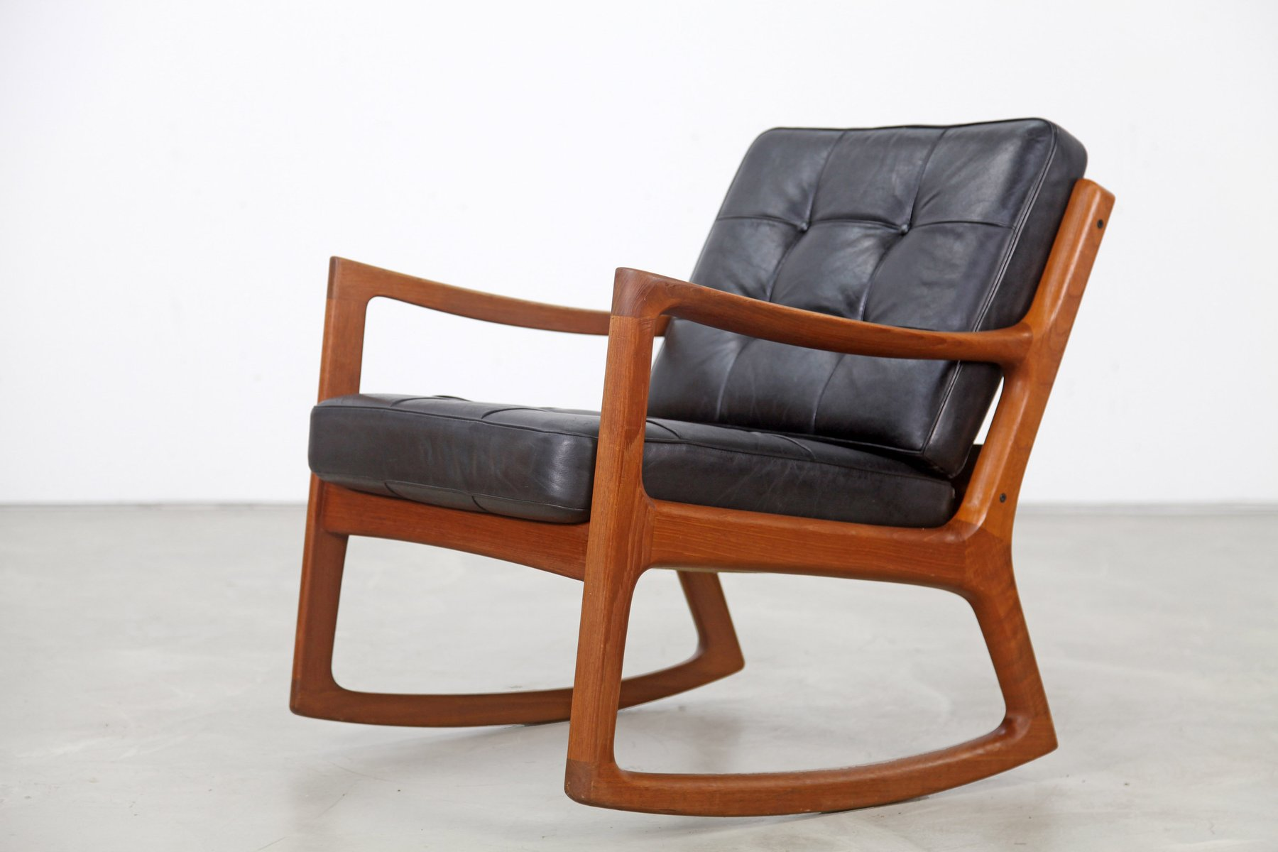 Vintage Teak Rocking Chair with Leather by Ole Wanscher for France