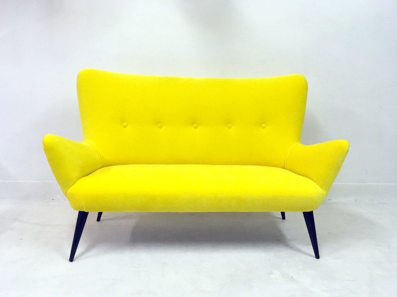 Italian Sofa and Stool in Yellow Velvet, 1950s, Set of 2 for sale ...