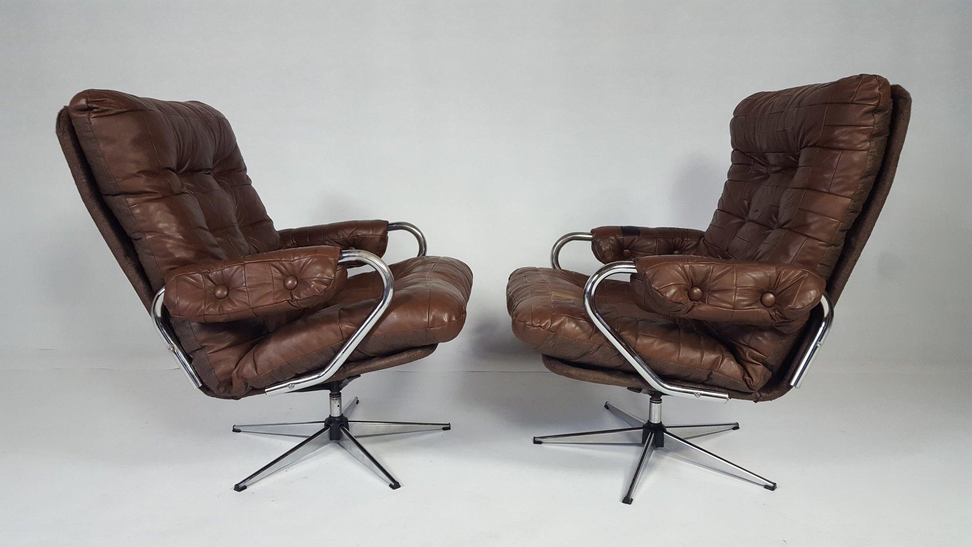 vintage leder drehsessel 2er set bei pamono kaufen. Black Bedroom Furniture Sets. Home Design Ideas