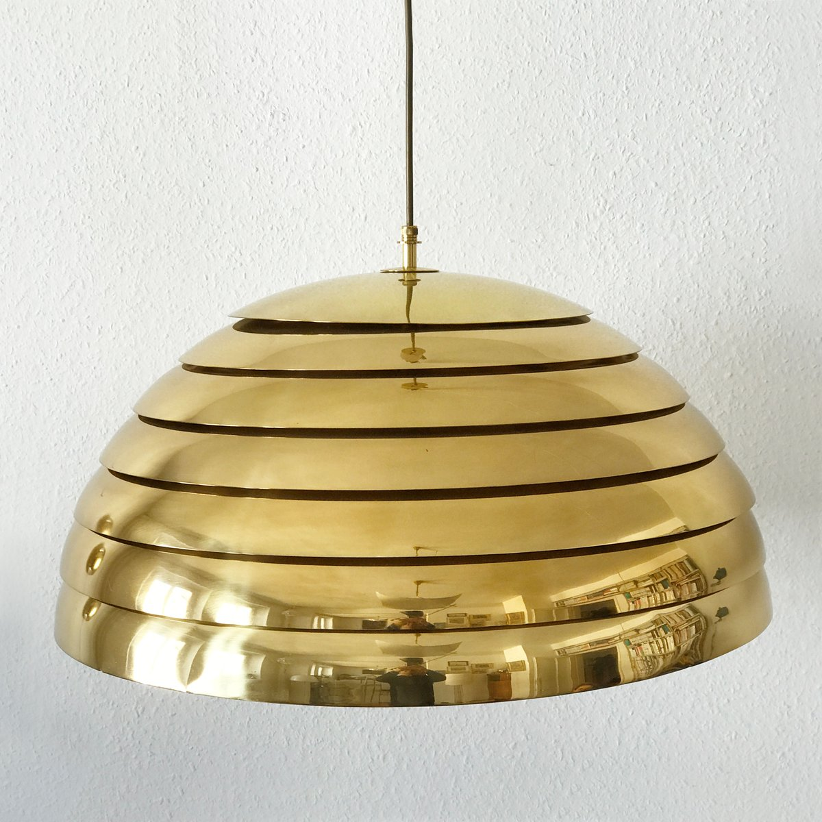 Large Mid Century Modern Brass Dome Pendant Lamp From