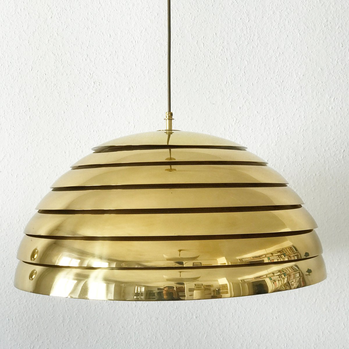 Large Mid-Century Modern Brass Dome Pendant Lamp from ...