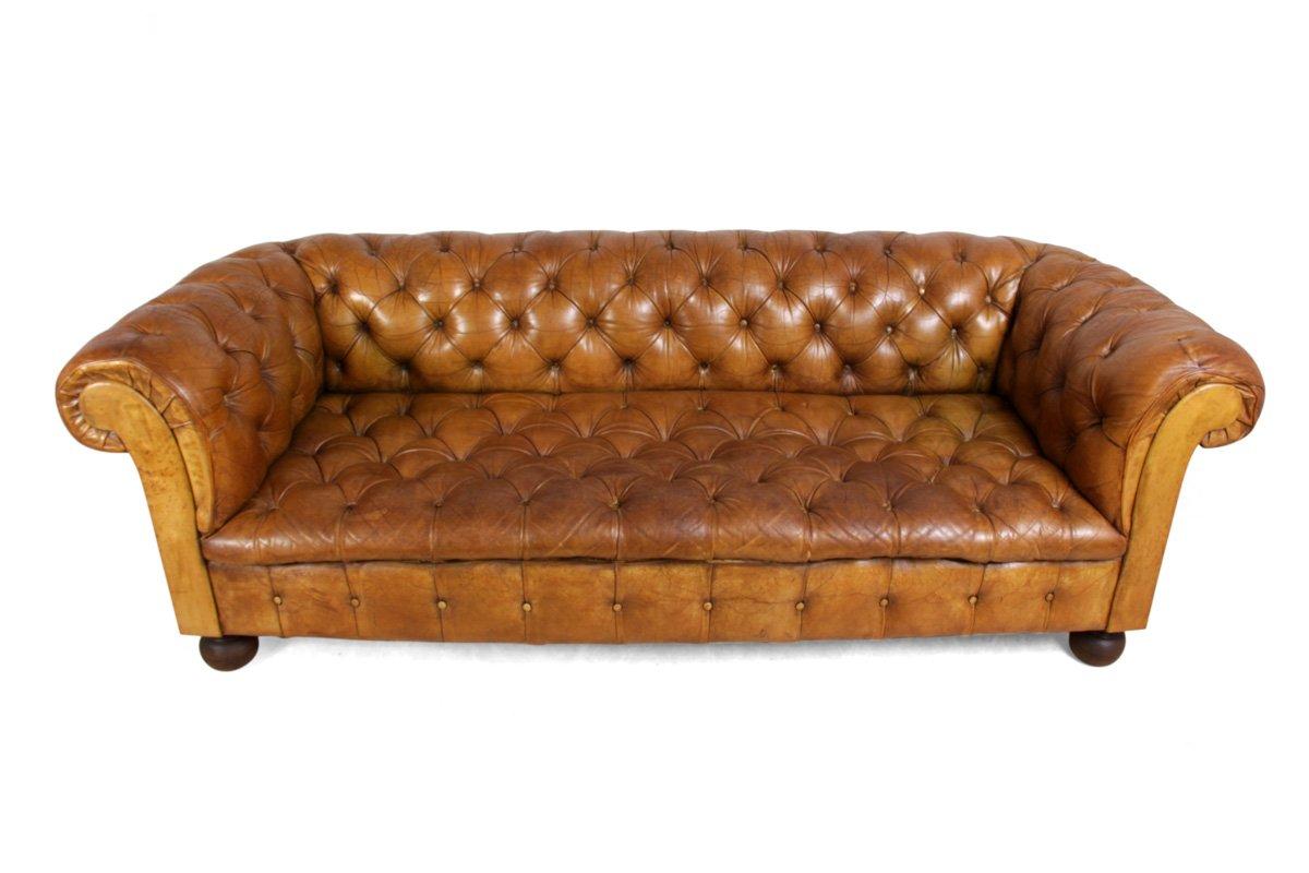 hellbraunes vintage chesterfield ledersofa 1960er bei. Black Bedroom Furniture Sets. Home Design Ideas