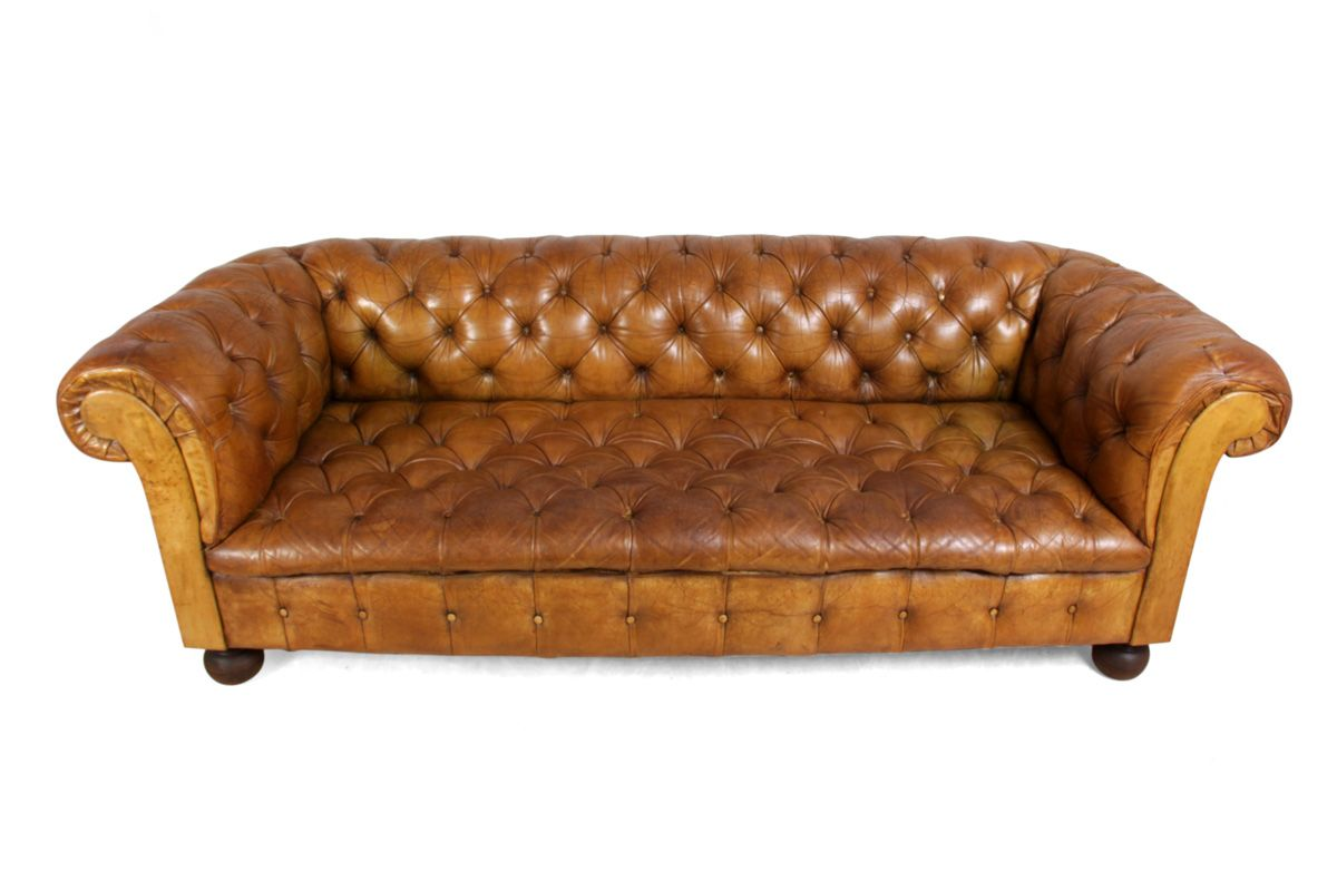 Vintage Tan Leather Buttoned Chesterfield Sofa 1960s For Sale At Pamono