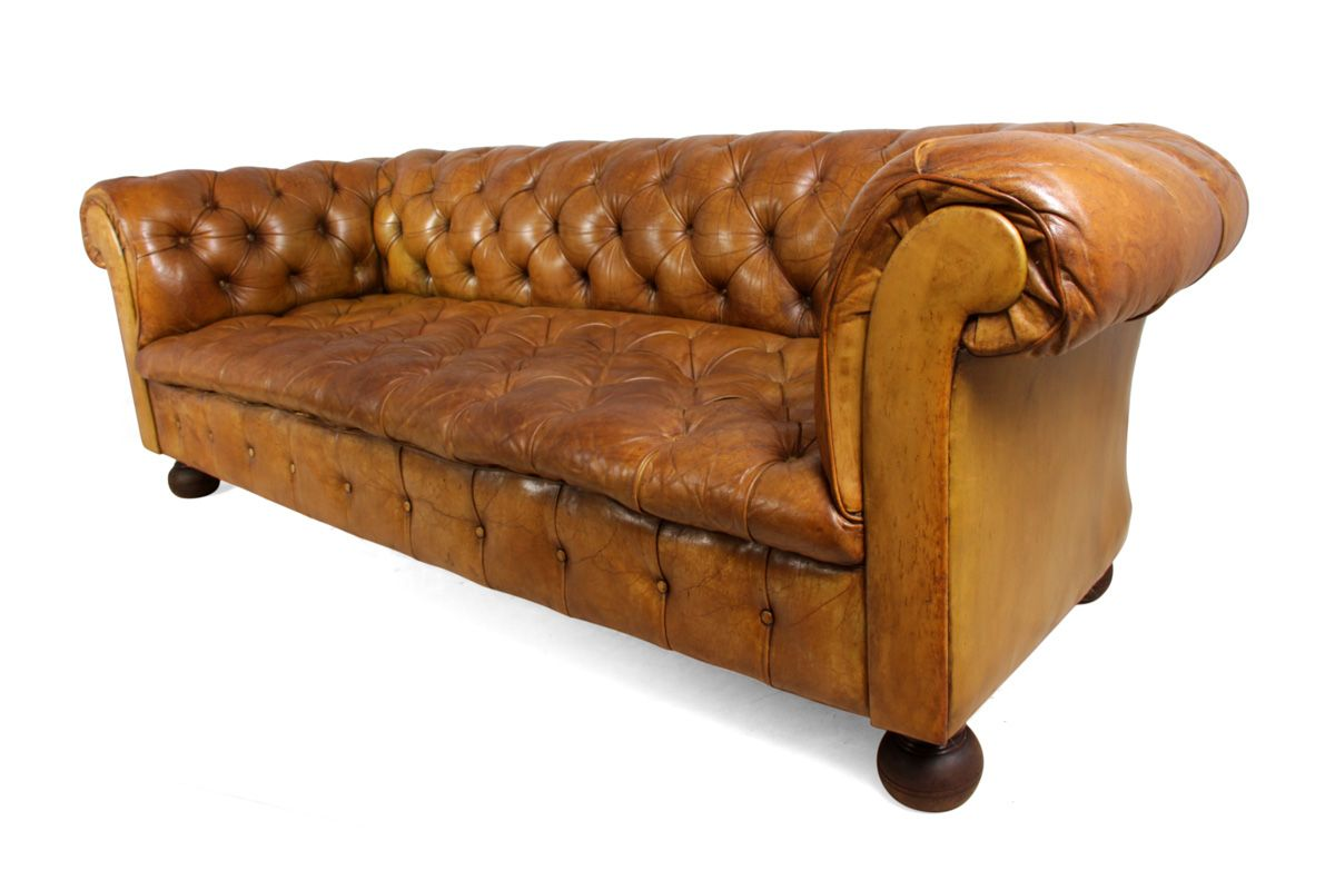 Vintage Tan Leather Buttoned Chesterfield Sofa, 1960s for sale at Pamono