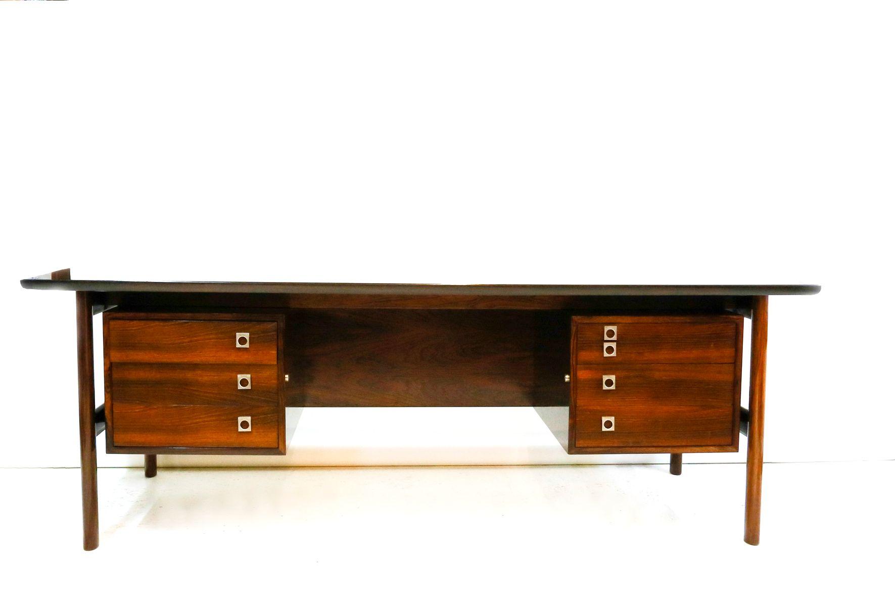 gro er palisander schreibtisch von arne vodder f r sibast. Black Bedroom Furniture Sets. Home Design Ideas