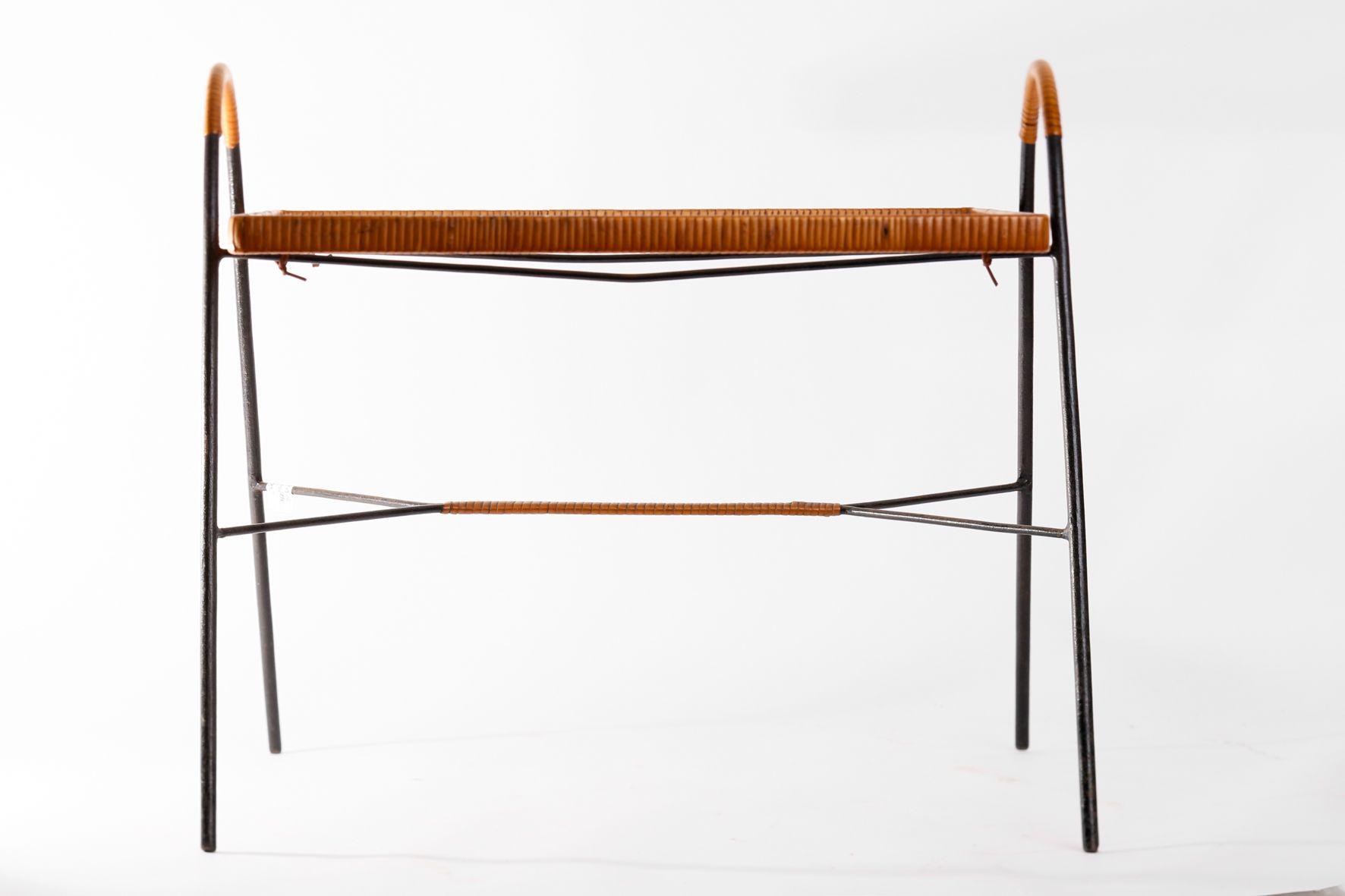 beistelltisch aus eisen schilfrohr 1970er bei pamono kaufen. Black Bedroom Furniture Sets. Home Design Ideas