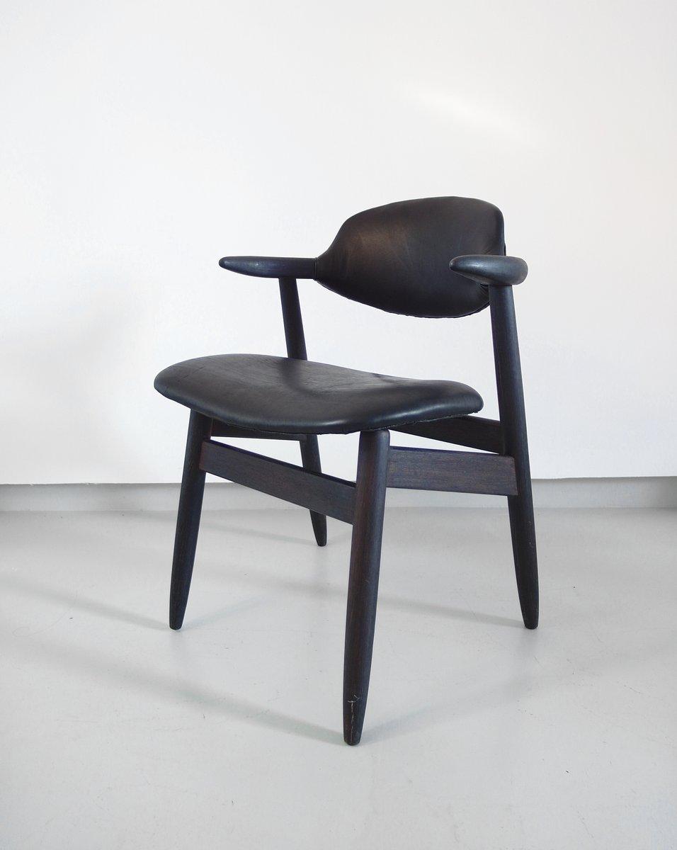 cowhorn st hle aus schwarzem leder von tijsseling f r. Black Bedroom Furniture Sets. Home Design Ideas