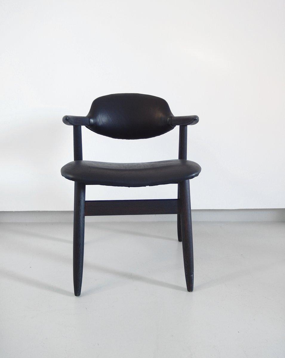 cowhorn st hle aus schwarzem leder von tijsseling f r hulmefa 1950er 4er set bei pamono kaufen. Black Bedroom Furniture Sets. Home Design Ideas