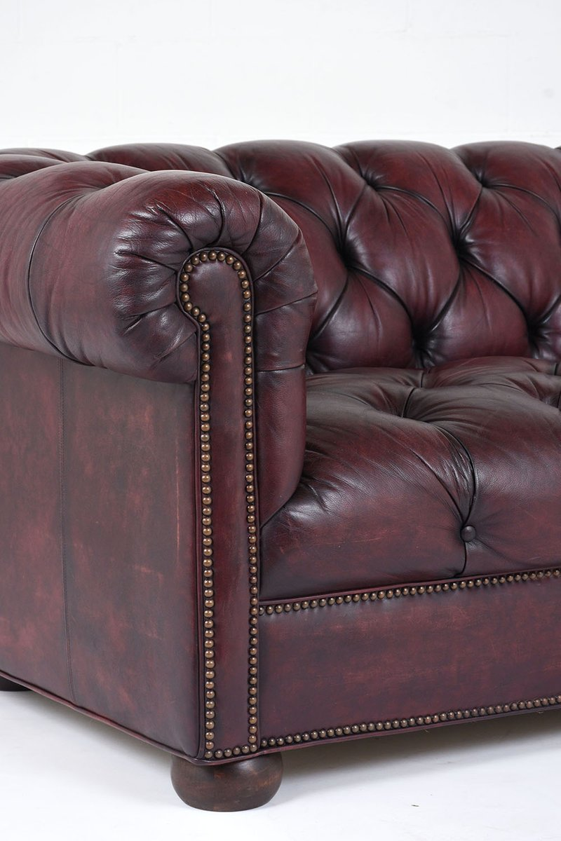 Vintage Tufted Leather Sofa 1970s for sale at Pamono