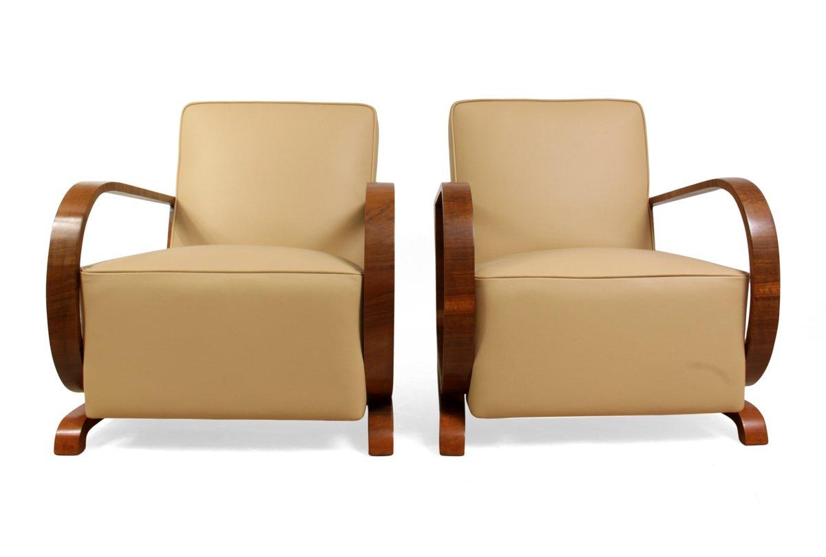 fauteuils art d co en noyer et cuir 1930s set de 2 en vente sur pamono. Black Bedroom Furniture Sets. Home Design Ideas